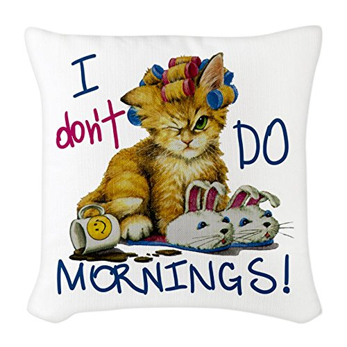 Burlap Throw Pillow Large I Don't Do Mornings Cat