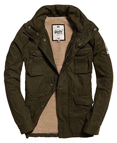 Superdry Mens Rookie Heavy Weather Field Jacket Dark Khaki Green L
