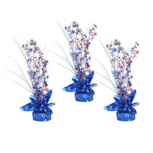 Patriotic Table Decoration, Red White and Blue Party Spray Centerpieces - Set of 3 - Décor for 4th of July, Independence Day, Memorial Day, Flag Day, Veterans Day, Labor Day -