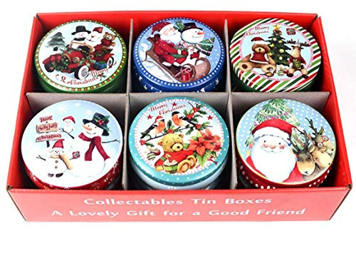 JKLcom Christmas Cookie Tins 12Pack Cookie Tin Box with Lids Empty Cookie Jar Storage Tins Christmas Cookie Gift Tins Round Cookies Food Candy Containers Organizers for Christmas Party Gift Giving