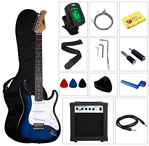 """Stedman Pro Beginner Series Electric Guitar with Case, Strap, Cable, Picks, Tuner, String Winder and Polish Cloth, 10 W Amp, 39"""" L, Transparent Blue"""