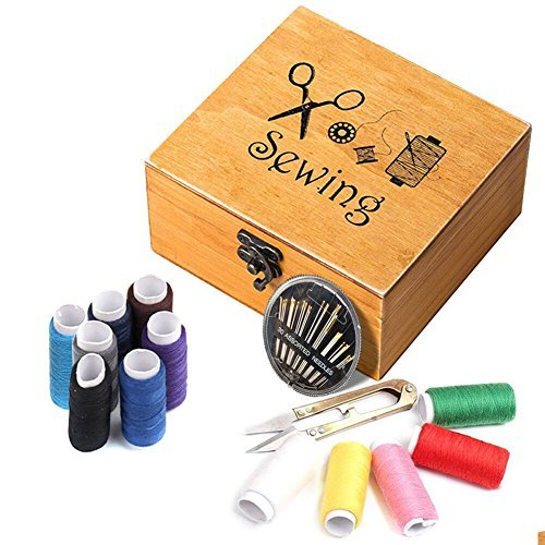 EVNEED Sewing Kits, Wooden Sewing Box,49 Pieces Accessories Mini Wooden Sewing Basket for Home Travel,with Thread/Needles/Tape Measure/Scissors/Thimble and Other Accessories
