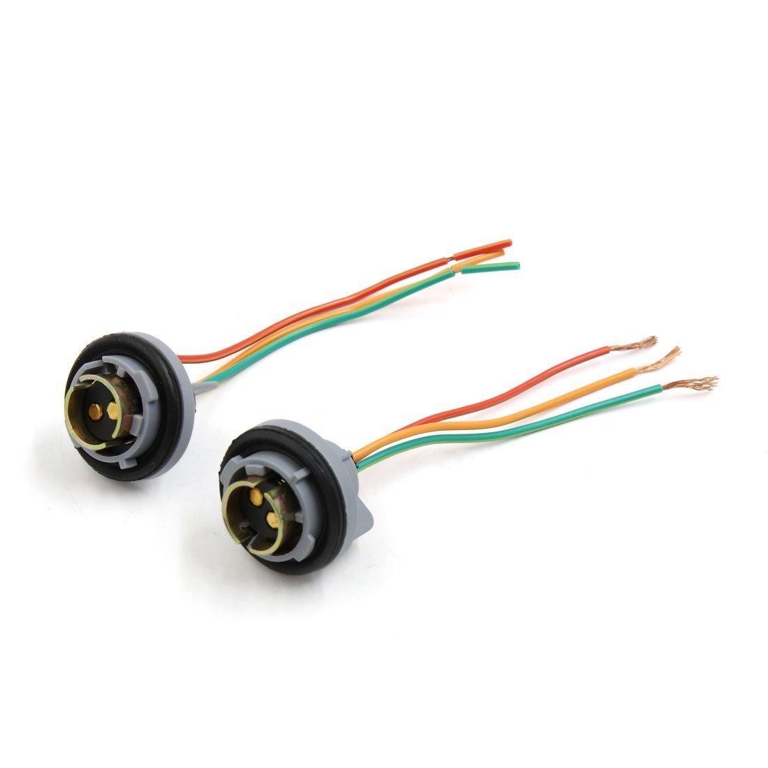 sourcingmap 2pcs Waterproof 1157 Break Light Extension Wire Harness Socket a17051700ux1569