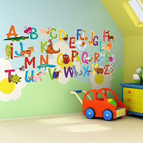 Price comparison product image 26 Individual Alphabet Animals Self-adhesive Wall Art Stickers - Large 14cm Letter