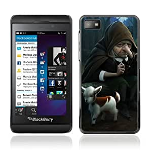 Licase Carcasa protectora para Blackberry Z10 - Funny Witch & Goat Illustration