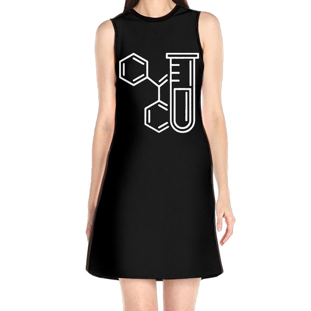 Women's Sleeveless Dresses Chemistry Icon Glass Tube O-Neck Midi Dress