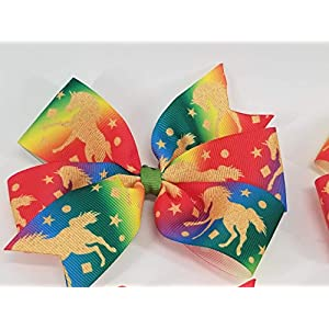 Rainbow Unicorns Hair Bow
