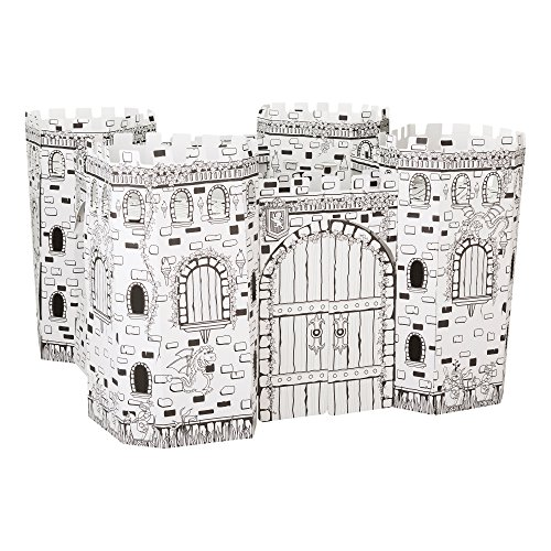 Fat Catalog DIY Kid Sized Fortress Coloring Kit- Cardboard and Corrugated, White/Black