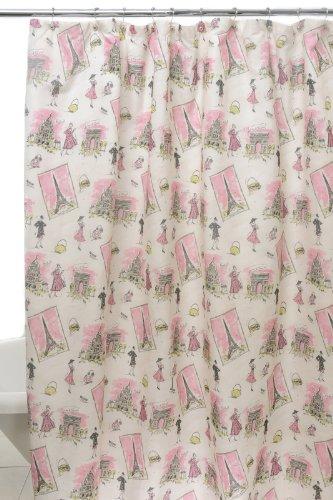 Waverly by Famous Home Fashions Tres Chic Pink Shower Curtain