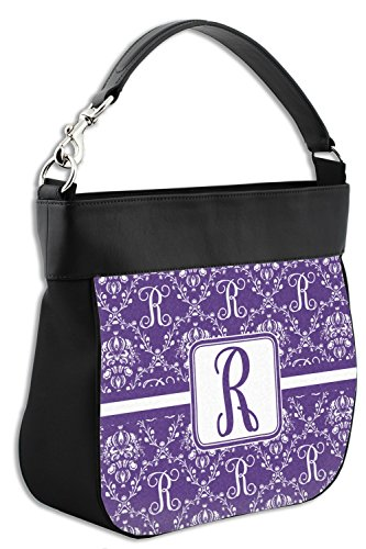 Trim Damask Genuine Purse Leather Personalized Front Initial Hobo w OqYRFF