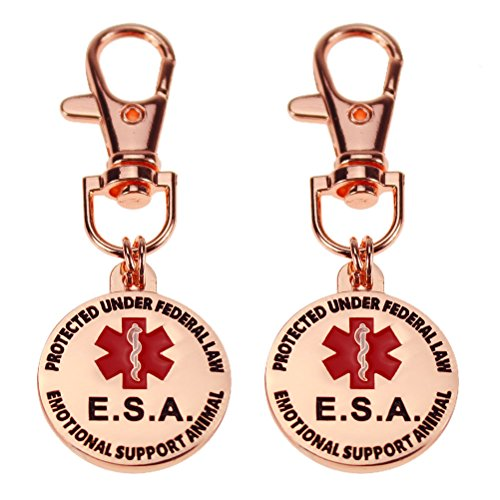 sticro Double Sided 2 Pack Small Breed Emotional Support Animal ESA Tag | Red Medical Alert Symbol Protected Under Federal Law | 1 with Metal Lobster Clamp (Rose Gold)