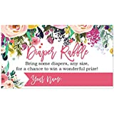 Floral Diaper Raffle Cards for a Baby Shower - 50 Count