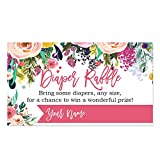 Baby : Floral Diaper Raffle Cards for a Baby Shower - 50 Count