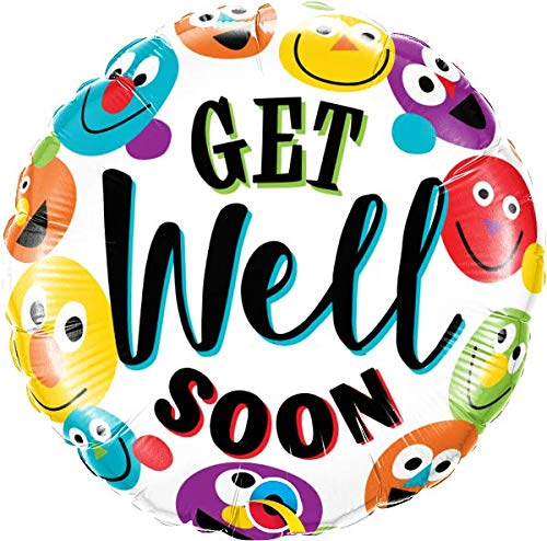 Get Well Soon Smiley 18'' Mylar Balloon Get Well Soon Birthday Party Decorations Supplies