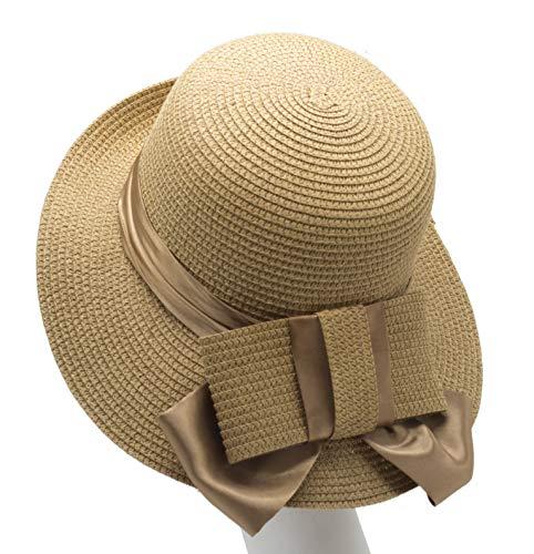 Melniko City Women Straw Cloche Hat - Summer UPF Elegant Bowknot Dark Beige -