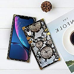 Bonoma Old Clock Square Corner Phone Case Fit for Apple iPhone Xr (6.1in)