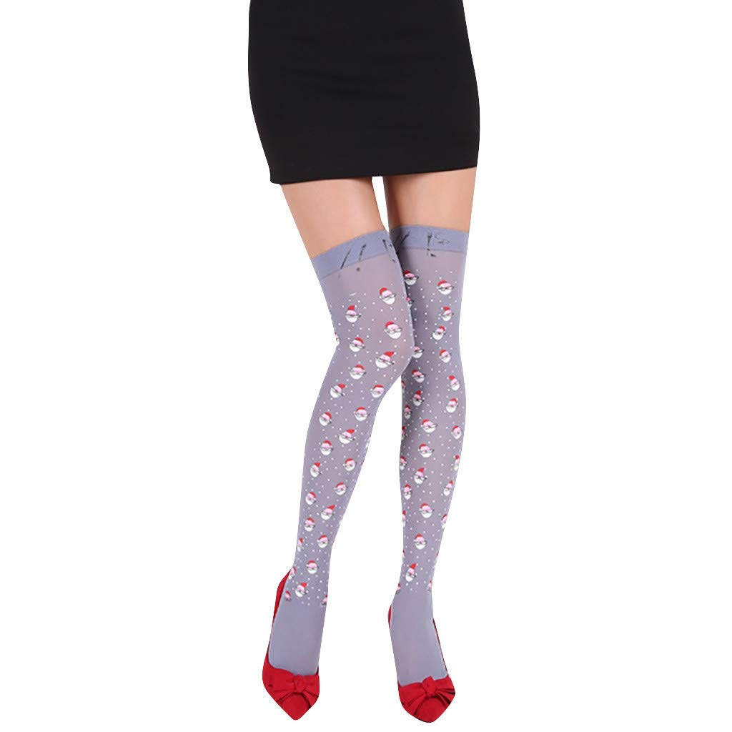 Women Girls Christmas Knee High Socks Over Knee Stockings for Running Sports One Size Fit for Most