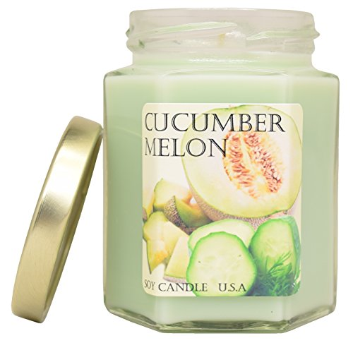 Cucumber Melon Soy Candle In Jar | Long Lasting | Best for Spa, Home, Aromatherapy, Gifts | Indoor & Outdoor Use | Weddings, Party, Meditation | Kitchen & Bath