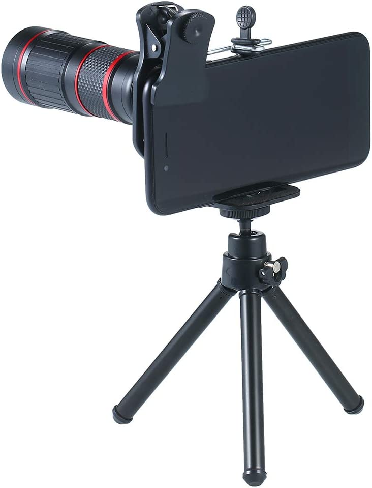 Leepesx Teléfono Cámara Telescopio Lente Zoom Monocular Teleobjetivo con 20 × Zoom de telefoto/ 25 × Macro / 0.5 × Gran Angular / 205 ° Ojo de pez/Mini trípode/Ocular / 2 Clips/Obturador Remoto