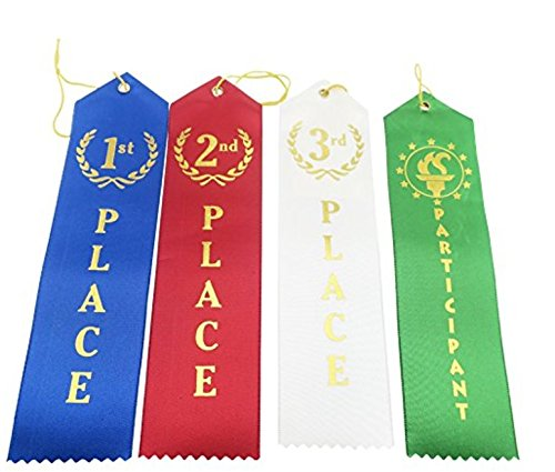 Award Ribbons 1st - 2nd - 3rd + Participant: Top 100-Pack Winner Award Ribbons/ Crisp Lettering + Name Card + String / Perfect For Sports, School, Art Contests