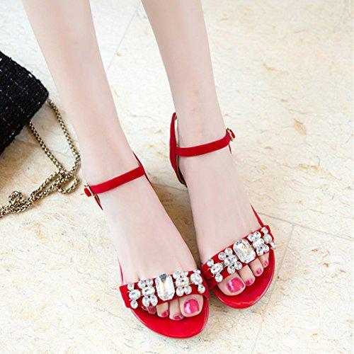 AIYOUMEI Damen Chunky Heel Flach Sandalen mit Strass und 3cm Absatz Bequem Schuhe Rot