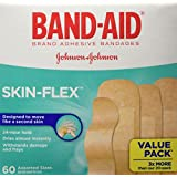 Band-Aid Adhesive Bandages for Cuts and Scrapes, Skin-Flex, Assorted Sizes Value Pack, 60 Bandages