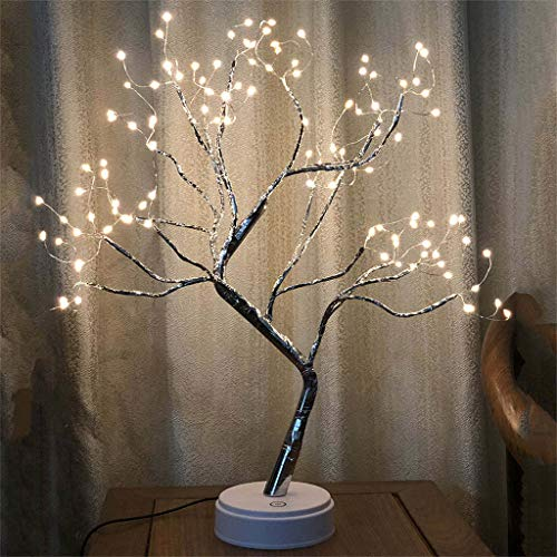 (Dirance@ Romantic Bonsai Tree Light 108 LED Willow Decorative Night Light, USB Battery Charging Supply Touch Switch Bedroom Decoration (Yellow))