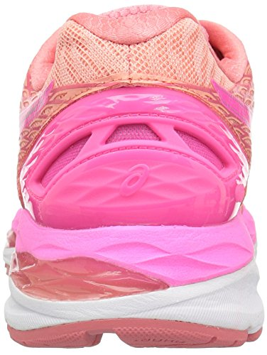 ASICS Women's Gel-Nimbus 18 Running Shoe, Peach Melba/Hot Pink/Guava, 12.5 M US