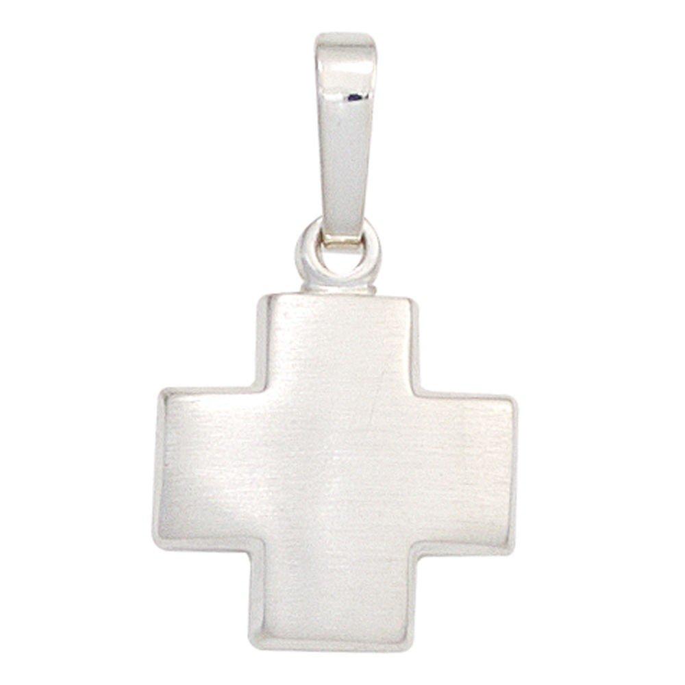 Colgante Cruz Chen 925 plata Ancho sim/étrica plateado mate Cruz unisex
