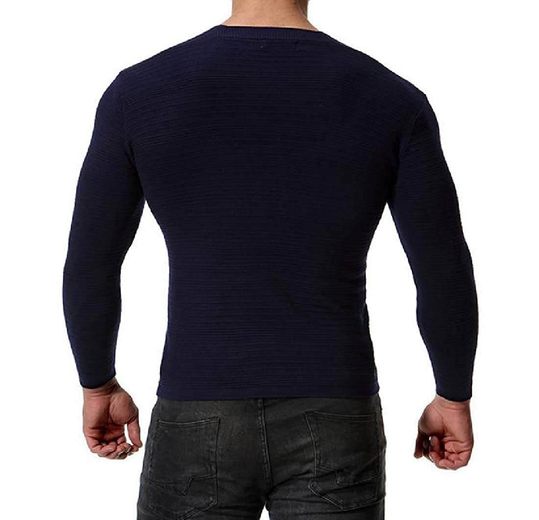 Tootless-Men Button Sweater Long Sleeve Outwear V Neck Slim Fit Cardigan