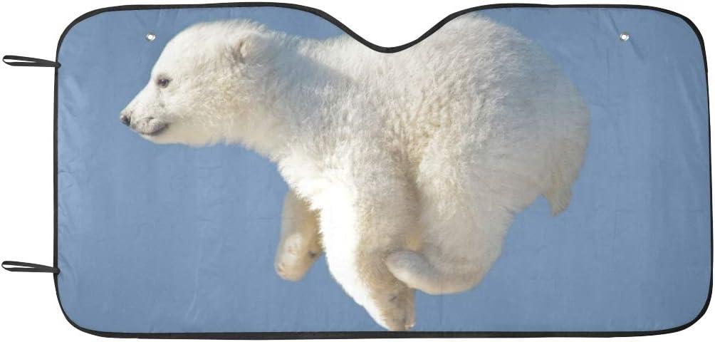 Yushg Windschutzscheibe Sonnenschutz Cute Jumped Polar Bear Tier Sonnenblende Universal Fit Vorne Halten Auto Fahrzeug Cool Heat Reflector Gel/ändewagen LKW 55x 30 Auto Windschutzscheibenabdeckungen