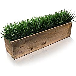 "CYS Excel Rustic Planter Box, 15 Sizes Available, Wood Planter, Decorative Box, Succulent and Floral Arrangements, Window Box with Removable Liner, Wedding DÉCOR H:6"" Open:24x6"""