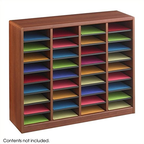Safco Products E-Z Stor Wood Literature Organizer, 36 Compartment, 9321CY, Cherry, Durable Construction, Removable Shelves, Plastic Label (Safco Labels)