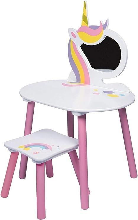 Juego de tocador de Unicornio con Espejo y Taburete para niños, de Madera, Color Rosa y Blanco: Amazon.es: Hogar