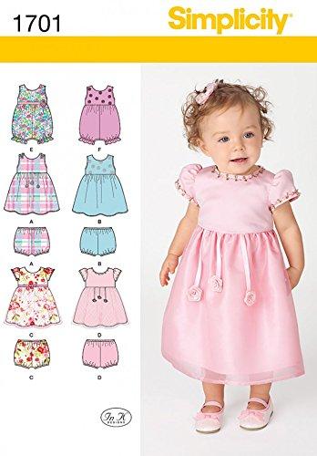 Simplicity 1701 Pelele bebé fácil patrón de costura, vestidos y bragas: In K Designs: Amazon.es: Hogar