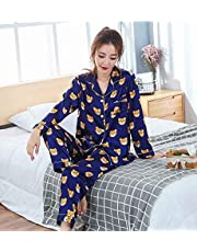 RTOFE Nuevos Hombres Pijama de otoño del Resorte Pijamas Conjunto Ropa de Manga Larga Amantes de la Historieta Homewear Parejas Sus y for Ella Ropa (Color : 001 Women, Size : L)
