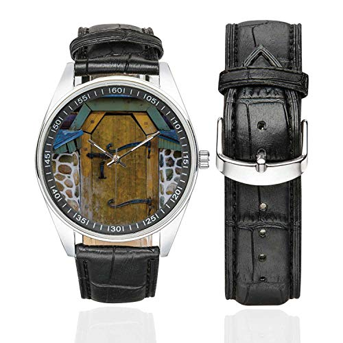Rustic Casual Leather Strap Watch,Antique Style Door of a Stone House in The Countryside Entrance Architecture Vintage for Men,Case Diameter:1.57