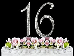 Rhinestone Cake Topper Number 16 by other