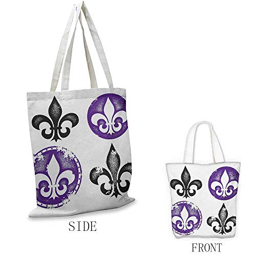 Fleur De Lis Shopping bag is easy to carry Collection of Fleur De Lis Designs Silhouettes Vintage Artistic Spiral Art Full color shopping bag W15.75 x L17.71 Inch Black Purple
