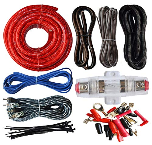 (SoundBox Connected 4 Gauge Amp Kit Amplifier Install Wiring Complete 4 Ga Installation Cables 2200W)