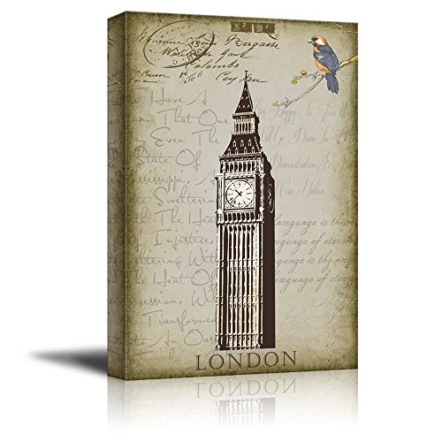 wall26 London's Big Ben Clock Placed onto a Background of Text and Vintage Accents – Canvas Art Home Decor – 16×24 inches