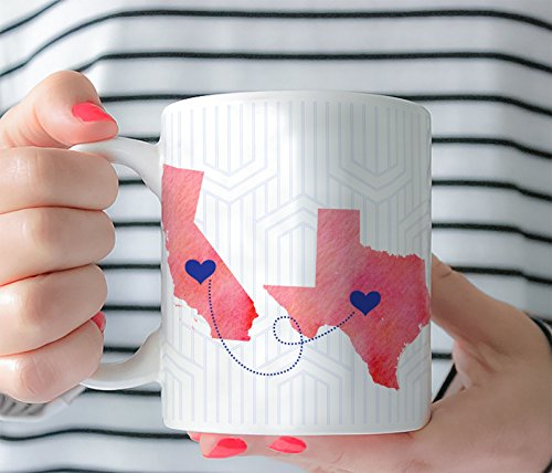 Personalized State US Long Distance Friend BFF Sisters Coffee Watercolor Style Mug - Gift - Custom Artwork Ceramic Tea Cup 11 Oz 15 Oz 0028