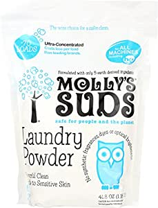 Molly's Suds All Natural Laundry Powder 70 Loads - Free of Harsh Chemicals, Gentle on Sensitive Skin & Eczema. Perfume Free - Contains Pure Peppermint Essential Oil