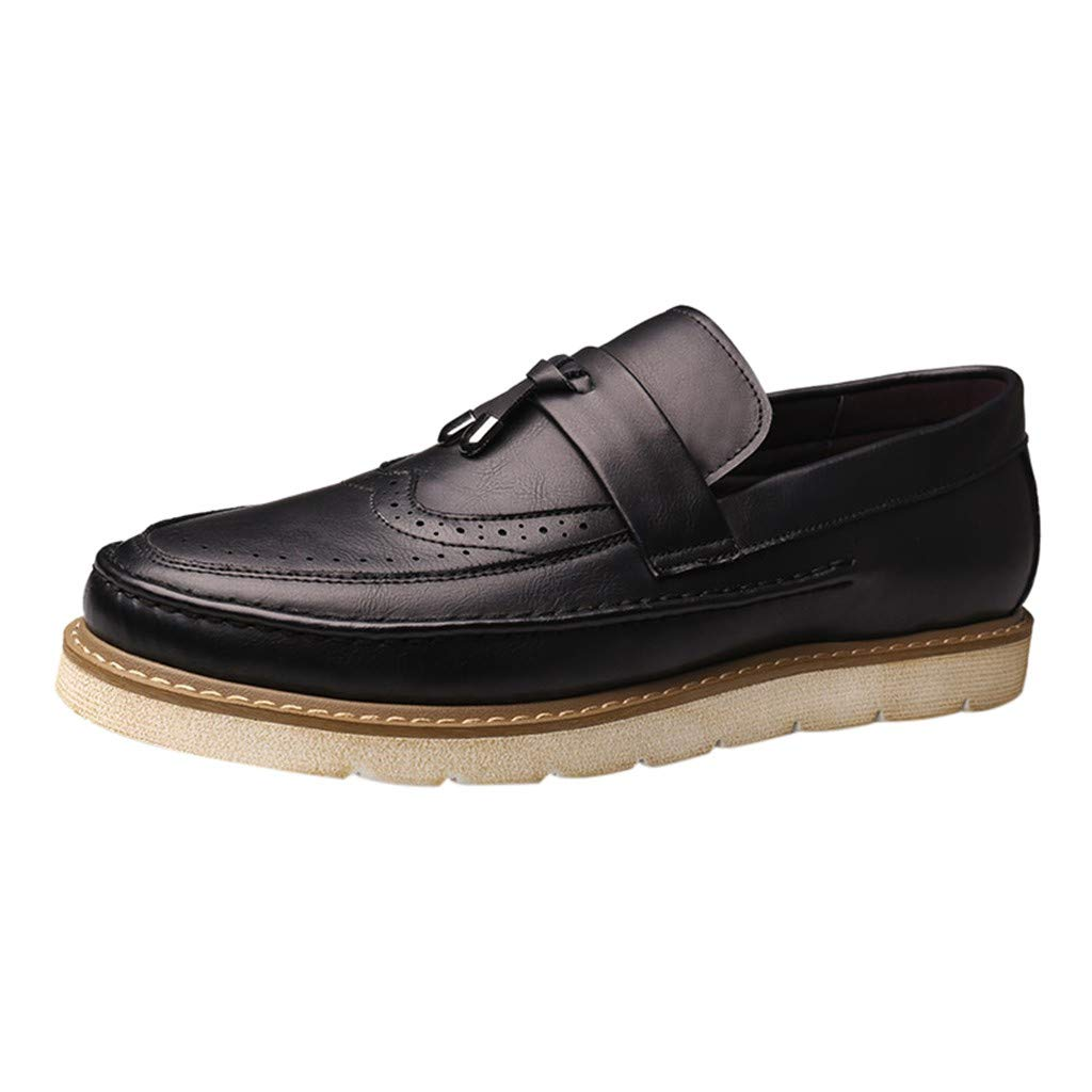Mens Oxford Dress Shoes Business Casual Loafers Shoes Fashion Driving Walk Slip On Shoes Black