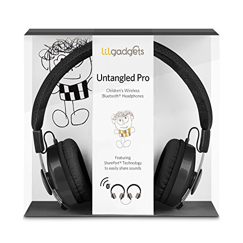 LilGadgets Untangled Pro Premium Children's Wireless Bluetooth Headphones with SharePort - Black