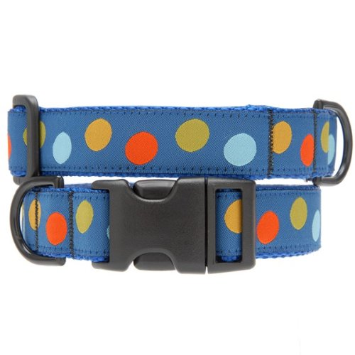 Max & Zoey 1-Inch Wide Polka Dot Dog Collar, X-Small, Blue/Multi