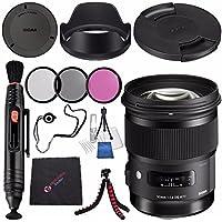 Sigma 50mm f/1.4 DG HSM Art Lens for Sony A #311205 + 77mm 3 Piece Filter Kit + Lens Pen Cleaner + Microfiber Cleaning Cloth + Lens Capkeeper + Flexible Tripod Bundle (International Model No Warranty)