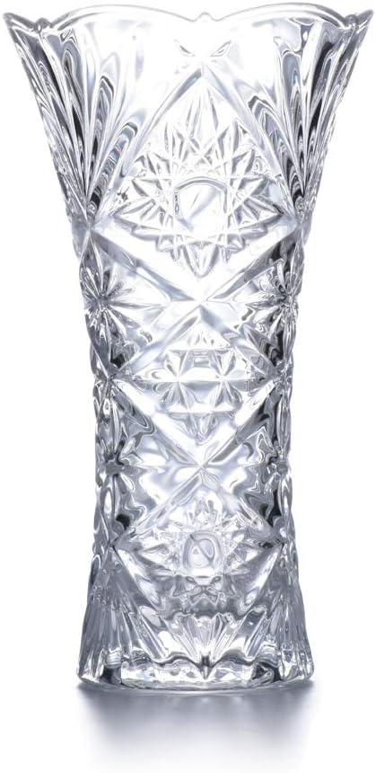 "JASVIC Vase, 9"", Fashion Vases Lead-Free Crystal Glass Vase, Flower Inserted European Transparent Vases for Decor, Living Room;Dining Table Decoration"