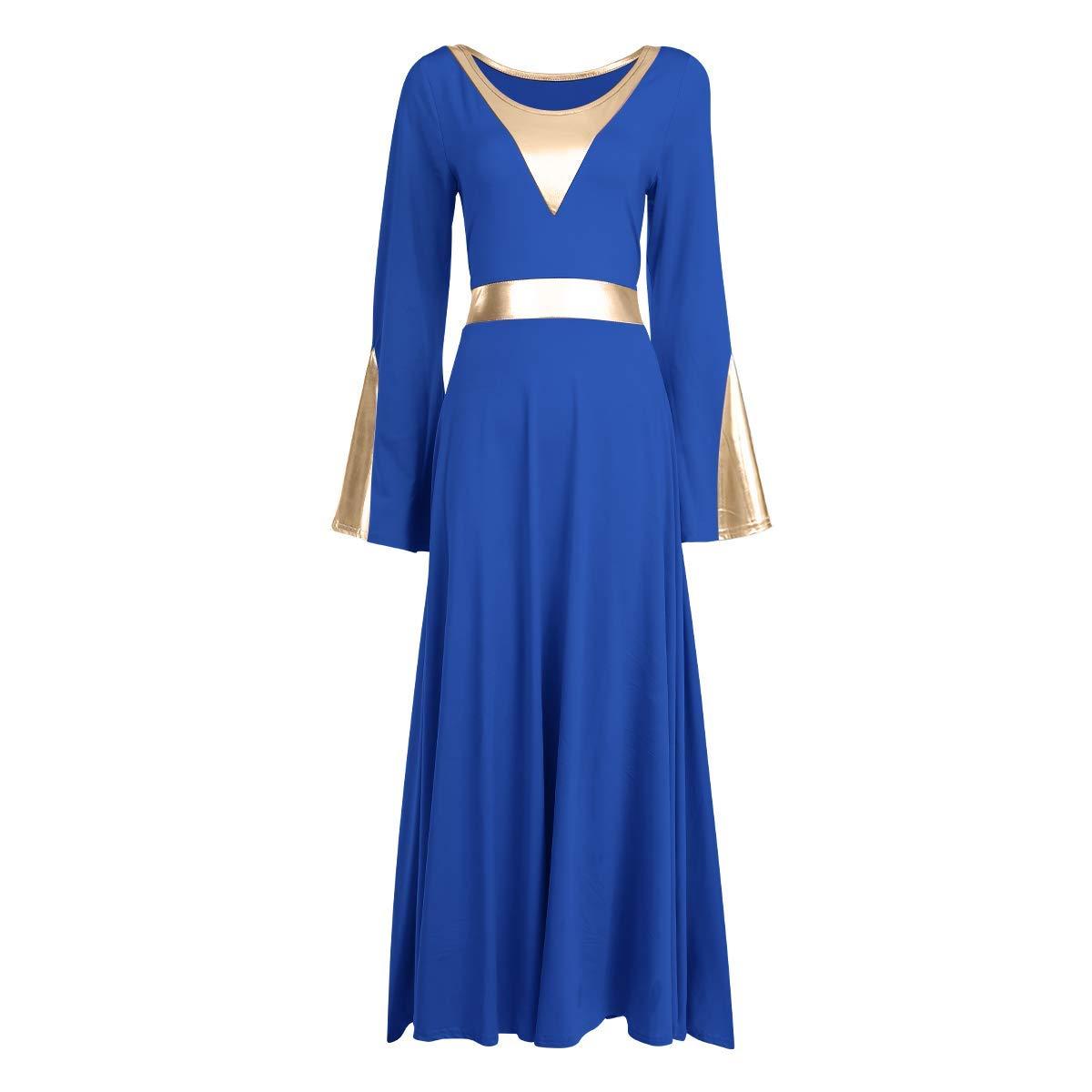 Women Metallic Color Block Liturgical Praise Lyrical Dance Dress Bell Long Sleeve Church Dancewear Gown Worship Costume