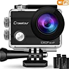Crosstour Action Camera Underwater Cam WiFi Full HD 12MP Waterproof 30m 2″ LCD 170°Wide-angle Sports Camera with 2 Rechargeable 1050mAh Batteries and Mounting Accessory Kits 1080P